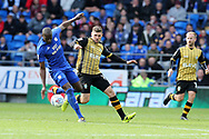 Sol Bamba of Cardiff city (l) holds off Gary Hooper of Sheffield Wednesday ®. EFL Skybet championship match, Cardiff city v Sheffield Wednesday at the Cardiff City Stadium in Cardiff, South Wales on Saturday 16th September 2017.<br /> pic by Andrew Orchard, Andrew Orchard sports photography.