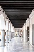 Arcade along the Plaza de las Armas and the Portales de Veracruz in the historic center of the city of Veracruz, Mexico. The area is the main public square in Veracruz.