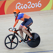 Track Cycling - Olympics: Day 8   Elis Ligtlee of The Netherlands  winning the gold medal in the Women's Keirin Final during the track cycling competition at the Rio Olympic Velodrome August 12, 2016 in Rio de Janeiro, Brazil. (Photo by Tim Clayton/Corbis via Getty Images)