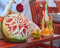 Food Art – Fruit and Vegetable Carving Demonstration by the   MV World Odyssey Master Chefs. Image taken with a Leica T camera and 18-56 or 55-135 mm lens.