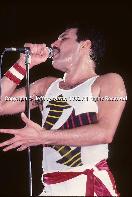 LOS ANGELES, CA - SEPTEMBER 15: of Queen in concert at The Forum on September 15, 1982 in Los Angeles, California.
