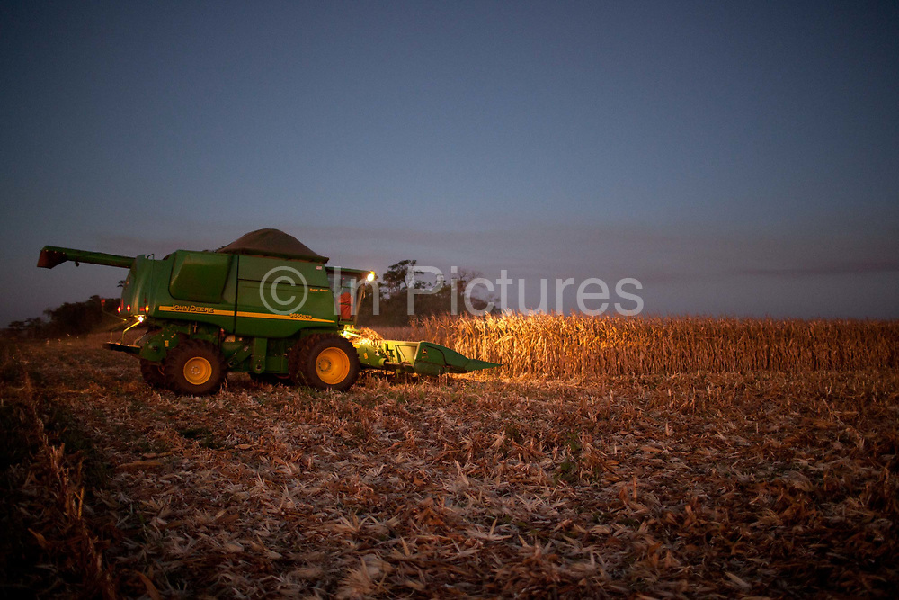 Combine harvester cropping a maize field at dusk. Brazil is the largest producer of Sugar and Beef, then second for Soya and third for Maize. Many of the farms are in the state of Mato Grosso and Mato Grosso do Sul, they are often enournmous, stretching for miles kilometres. A lot of the crops are processed on site and kept in large warehouses or silos.