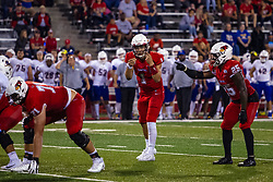 NORMAL, IL - September 07: Drew Himmelman, Brady Davis, James Robinson during a college football game between the ISU (Illinois State University) Redbirds and the Morehead State Eagles on September 07 2019 at Hancock Stadium in Normal, IL. (Photo by Alan Look)