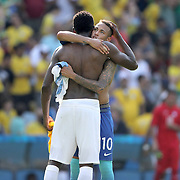 Football - Olympics: Day 12   Neymar #10 of Brazil is congratulated by an Honduras player at the end of the game during the Brazil Vs Honduras Men's Semifinal match at Maracana Stadium on August 17, 2016 in Rio de Janeiro, Brazil. (Photo by Tim Clayton/Corbis via Getty Images)