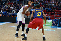 Unicaja's Jamar Smith and FCB Lassa's Xavier Mumford during Quarter Finals match of 2017 King's Cup at Fernando Buesa Arena in Vitoria, Spain. February 17, 2017. (ALTERPHOTOS/BorjaB.Hojas)