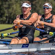 Chris Harris and John Storey New Zealand Mens Double Scull<br /> <br /> Qualification heats at the World Championships, Sarasota, Florida, USA Monday 25 September 2017. Copyright photo © Steve McArthur / Rowing NZ