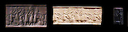Cylinder seal with impressions, from Mesopotamia. seal made from Lapis Lazuli depicting a battle between gods. Early Akkadian Period, 2350-2250 BC.