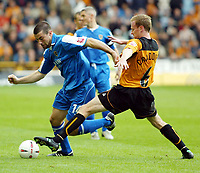 Fotball<br /> England 2004/2005<br /> Foto: SBI/Digitalsport<br /> NORWAY ONLY<br /> <br /> Wolverhampton Wanderers v Cardiff City<br /> The League Championship. 25/09/2004<br /> Jody Craddock of Wolves clashes with Alan Lee of Cardiff