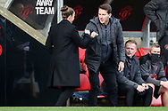Manchester United Women Manager Casey Stoney greets Manchester City Manager Gareth Taylor during the FA Women's Super League match between Manchester United Women and Manchester City Women at Leigh Sports Village, Leigh, United Kingdom on 14 November 2020.