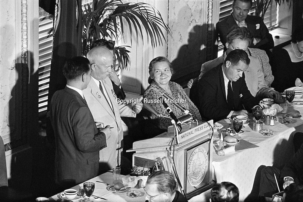 1959.Nikita Khrushchev speaking at a lunch at the Washington DC. Press Club.<br /> <br /> <br /> 1959. Nikita Khrouchtchev parlant lors d'un déjeuner au Club de la Presse de Washington DC .