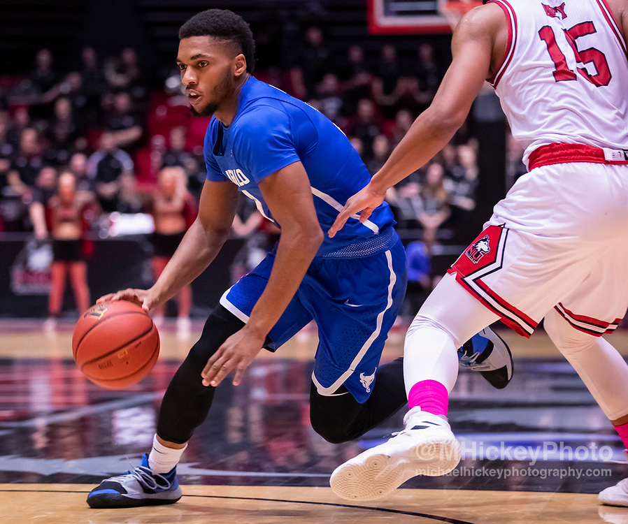 DEKALB, IL - JANUARY 22: Jayvon Graves #3 of the Buffalo Bulls drives to the basket against Jaylen Key #15 of the Northern Illinois Huskies at NIU Convocation Center on January 22, 2019 in DeKalb, Illinois. (Photo by Michael Hickey/Getty Images) *** Local Caption *** Jayvon Graves; Jaylen Key