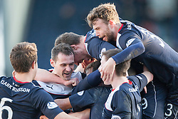 Falkirk's Mark Millar celebrates under team mates after scoring their fourth goal.<br /> Raith Rovers 2 v 4 Falkirk, Scottish Championship game today at Starks Park.<br /> © Michael Schofield.