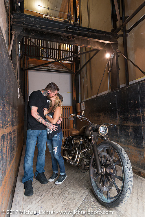 Ricochet Customs' Crystal Hess and custom bike builder and In Motion Bike Show participant Chris Moos of Misfit Industries at the Lone Star Rally. Galveston, TX. USA. Sunday November 5, 2017. Photography ©2017 Michael Lichter.
