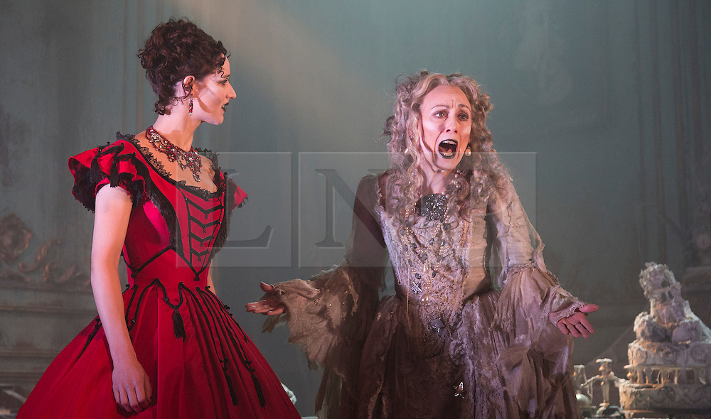 """© Licensed to London News Pictures. 04/02/2013. London, England. Grace Rowe as Estella and Paula Wilcox as Miss Havisham. A new stage adaptation of Charles Dickens's """"Great Expecations"""" will open at the Vaudeville Theatre, London, on Wednesday, 6 February 2013. It is the first ever full-scale stage play of Great Expectations in either the West End or on Broadway. Adaptation by Jo Clifford, directed by Graham McLaren. Photo credit: Bettina Strenske/LNP"""