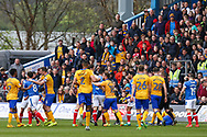 Angry scenes following a coming together of players during the EFL Sky Bet League 2 match between Mansfield Town and Portsmouth at the One Call Stadium, Mansfield, England on 29 April 2017. Photo by Aaron  Lupton.