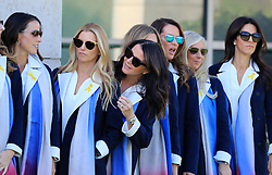 Tommy Fleetwood's wife Clare Craig peers out as the European Team's wives and girlfriends line up for a photo before the Ryder Cup Opening Ceremony at Le Golf National, Saint-Quentin-en-Yvelines, Paris.