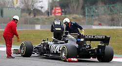 Haas Romain Grosjean breaks down on the track during day three of pre-season testing at the Circuit de Barcelona-Catalunya.