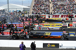 April 8, 2018 - Las Vegas, NV, U.S. - LAS VEGAS, NV - APRIL 08: Terry Totten (565 TF), Antron Brown (4 TF) Don Schumacher Racing (DSR) NHRA Top Fuel Dragster, Leah Pritchett (777 TF) NHRA Top Fuel Dragster, and Mike Salinas (7211 TF) NHRA Top Fuel Dragster stage for their first round eliminations run during the DENSO Spark Plugs NHRA Four-Wide Nationals on April 08, 2018 at The Strip at Las Vegas Motor Speedway in Las Vegas, NV. (Photo by Chris Williams/Icon Sportswire) (Credit Image: © Chris Williams/Icon SMI via ZUMA Press)