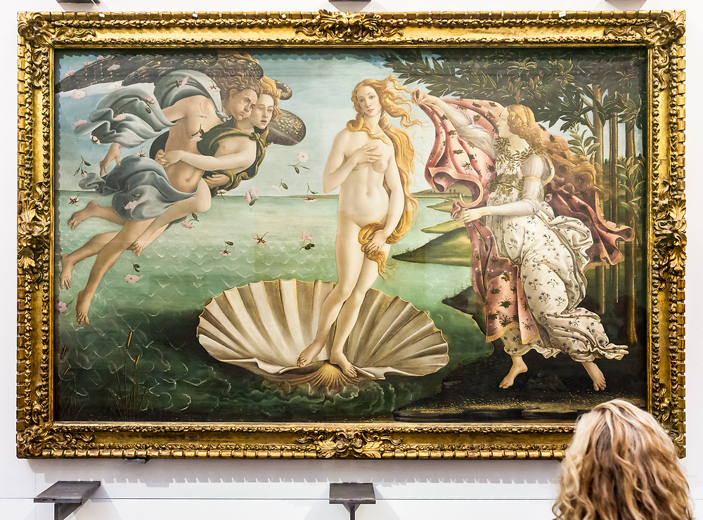 The Birth of Venus painting by Sandro Botticelli in the Uffizi Gallery, Florence, Italy.