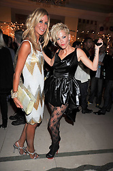 Left to right, LADY VICTORIA HERVEY and Singer SARAH HARDING from Girls Aloud at a party hosted by Mulberry during London fashion Week 2009 at Claridge's Hotel, Brook Street, London on 20th September 2009.