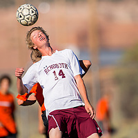 092613       Brian Leddy<br /> Rehoboth Lynx Luke Pikaart (14) takes a header during Thursday's game against Gallup.