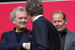 commissioner board of directors Peter Mensing of Ajax, general director Edwin van der Sar of Ajax, commissioner board of directors Danny Blind of Ajax during the Dutch Eredivisie match between Ajax Amsterdam and Heracles Almelo at the Amsterdam Arena on April 08, 2018 in Amsterdam, The Netherlands