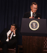 President H.W, Bush (Bush 41).and William Bennett in September 1989.Photograph by Dennis Brack, BB 29