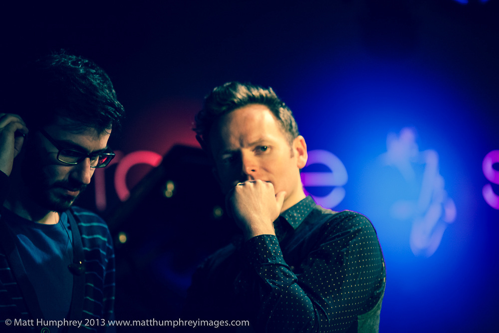 Joe Stilgoe and Schlomo during rehearsal for BBC Radio 2 pilot of 'Joe Stilgoe: One Night Stand' at Ronnie Scott's Jazz Club, London, February 2013. Mandatory credit for all image use online or printed. Copyright and credit to © Matt Humphrey. All rights reserved.