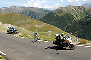France - Tuesday, Jul 22 2008: Gerolsteiner's Stefan Schumacher (Ger) leads the race up the Col de Restefond during Stage 16 of the 2008 Tour de France cycle race. (Photo by Peter Horrell / http://www.peterhorrell.com)