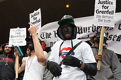 July 19, 2017 - London, London, UK - Protesters hold a demonstration outside Kensington and Chelsea Town Hall during a council meeting. (Credit Image: © Ray Tang via ZUMA Wire)