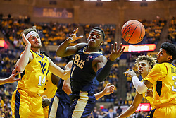 Dec 8, 2018; Morgantown, WV, USA; Pittsburgh Panthers guard Xavier Johnson (1) attempts to grab a rebound during the first half against the West Virginia Mountaineers at WVU Coliseum. Mandatory Credit: Ben Queen-USA TODAY Sports