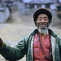 HIMALAYA, NEPAL. Sherpa elder Dawa Tenzing, (1907-1985), veteran of 1924 Mallory/Irvine expedition & first Nepal-side Everest expeditions. (1980 photo).