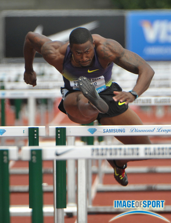 Jul 3, 2010; Eugene, OR, USA; David Oliver tied the American record of 12.90 to win the 110m hurdles in the 36th Prefontaine Classic at Hayward Field. Photo by Image of Sport