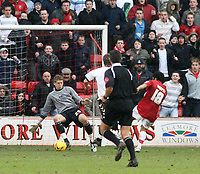 Photo: Mark Stephenson.<br />Walsall v Barnet. Coca Cola League 2. 24/02/2007.Walsall's Kevin Harper gets his first goal