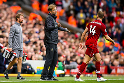 Liverpool manager Jurgen Klopp speaks to Jordan Henderson of Liverpool - Mandatory by-line: Robbie Stephenson/JMP - 22/09/2018 - FOOTBALL - Anfield - Liverpool, England - Liverpool v Southampton - Premier League