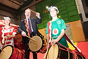 NO FEE PICTURES<br /> 25/1/19 Minister Shane Ross Japanese drummers Louis Bradley, age 11 and Sayako O'Donnell, age 13 pictured at the Holiday World Show 2019 at the RDS Simmonscourt in Dublin. Picture; Arthur Carron