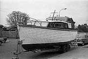 25/03/1966<br /> 03/25/1966<br /> 25 March 1966<br /> Córas Tráchtála award in Irish Boat show.  At the Irish Boat Show organised by the Irish Yachting Association at the RDS, Ballsbridge, Dublin Mr John Haughey, Chairman, Córas Tráchtála presented a silver bowl as a perpetual award for the best professionally built and finished boat in the Show. Picture shows the Hickey Boats Ltd., Galway Bay, Ireland,  26ft long 4-berth sea-going cabin cruiser, Venturer Class, Margarita, that won the prize.