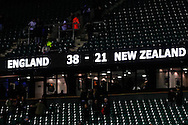 Picture by Andrew Tobin/SLIK images +44 7710 761829. 2nd December 2012. The final score after the QBE Internationals match between England and the New Zealand All Blacks at Twickenham Stadium, London, England. England won the game 38-21.