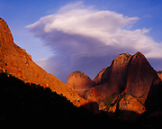 Lenticular clouds above Nagunt Mesa, Finger Canyons of the Kolob, Zion National Park, Utah.